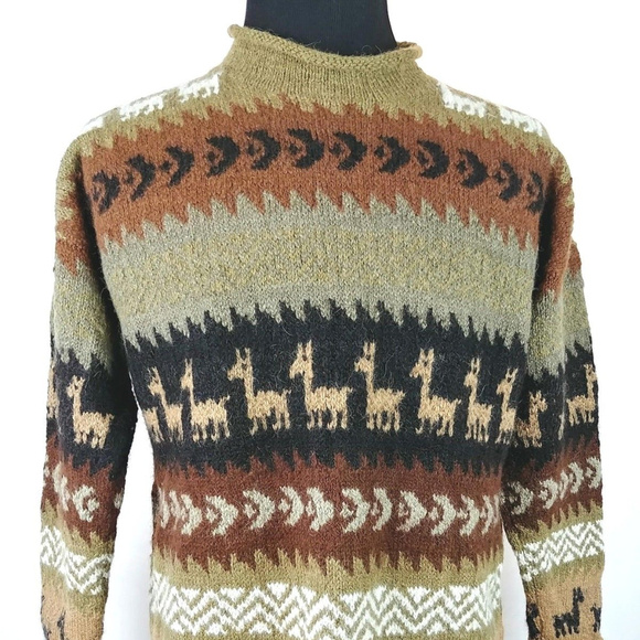 Unbranded Sweaters Hand Knit Alpaca Llama Print Sweater Large